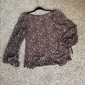WHBM leopard blouse with tie sleeves